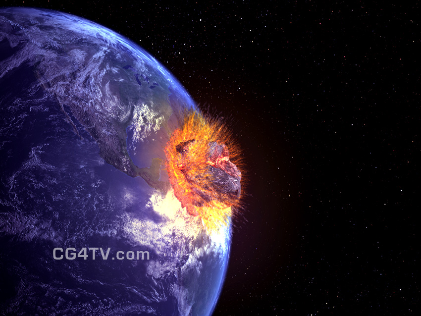 Asteroid impact. Killer asteroid hitting Earth. High Resolution picture of comet asteroid 2012 2029 2036