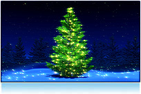 Christmas Tree, 3D Postcard Image, Xmas Tree