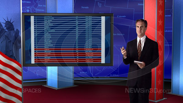 virtual news set presidential election 3d studio tv hdtv America Votes candidate