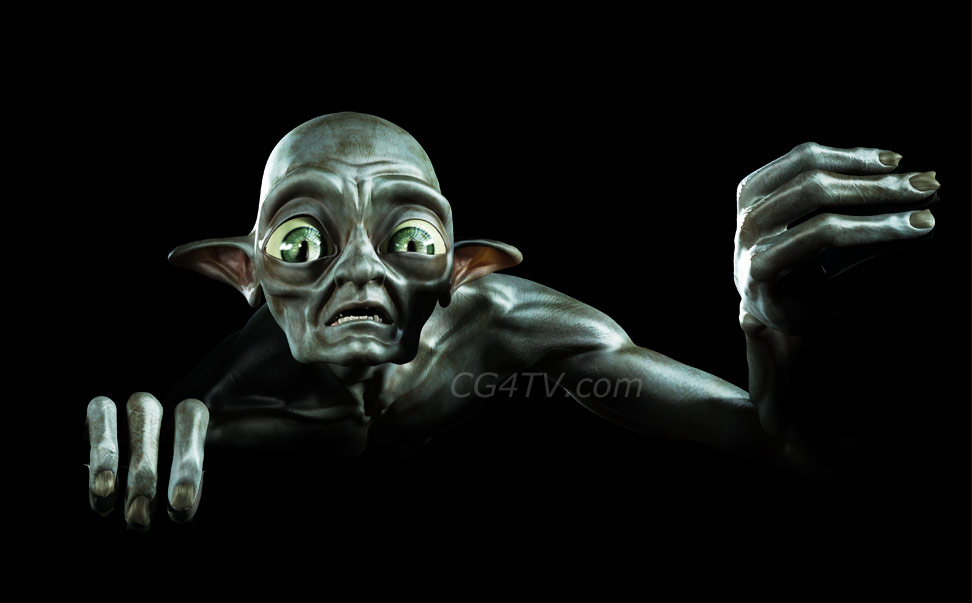 3d character  golum, Monster from the forest, for outdoor advertising poster, car advertising, Yoda look alike, Star wars