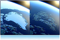 Greenland Ice Cap Melting, Global Warming Animation. Royalty Free footage clip art video high def  3d picture image computer animation