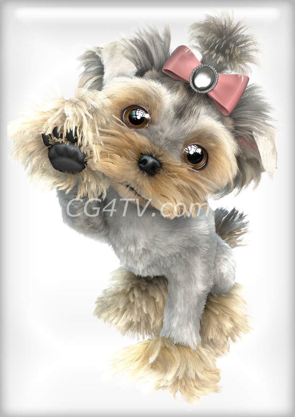 magazine print ad, graphic design for advertising,  3d character, Yorkie, high resolution, cover