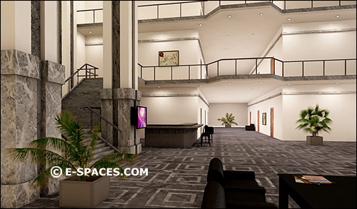 3D virtual hotel lobby --  multi user virtual world for business and education, Qwaq, Second life, ActiveWorlds, Caneva