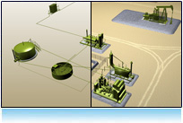 Interactive oil and gas 3d model of location for lease operators training